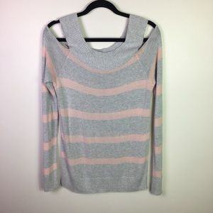 Maurices Gray & Pink Striped Cold Shoulder Top